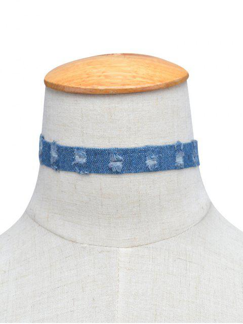 shop Denim Punk Choker Necklace -   Mobile