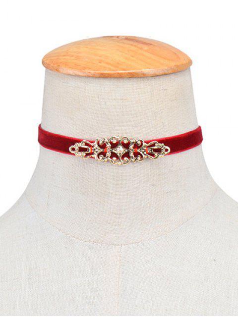 trendy Hollowed Geometry Velvet Choker Necklace - BURGUNDY  Mobile