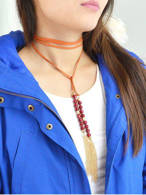 outfits Tassel Beaded Wrap Choker - ORANGE RED  Mobile