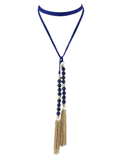 shops Tassel Beaded Wrap Choker -   Mobile