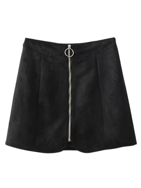 latest Suede Zippered Mini Skirt - BLACK S Mobile