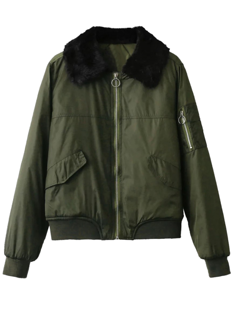 buy Fur Collar Padded Cargo Bomber Jacket - ARMY GREEN S Mobile