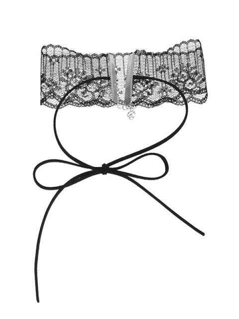 buy Lace Adjustable Bowknot Choker Necklace -   Mobile