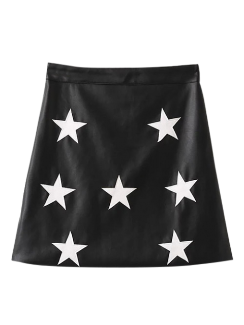 latest PU Leather Star A-Line Skirt - BLACK L Mobile