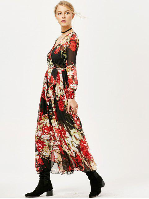 affordable Floral See Thru Surplice Maxi Dress - FLORAL 2XL Mobile