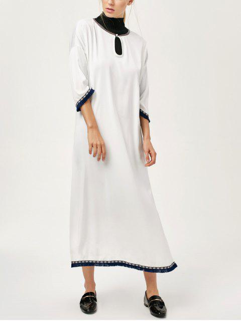 online Side Slit Loose Maxi Dress - WHITE M Mobile