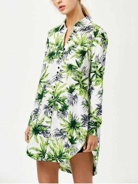 trendy Pocket Coconut Palm Print Shirt - FLORAL M Mobile
