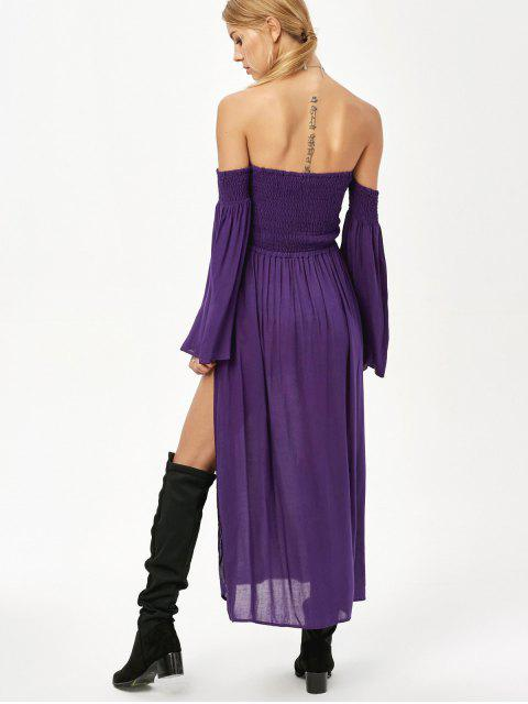 outfit Off Shoulder High Slit Shirred Maxi Dress - PURPLE XL Mobile