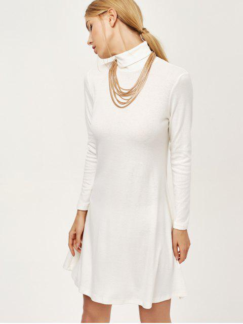 fashion Turtle Neck Mini Swing Dress - WHITE S Mobile