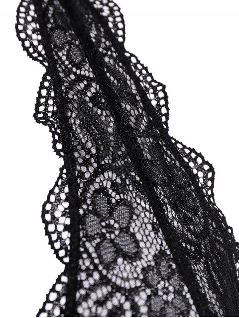new Scalloped Embroidered Bra - BLACK XL Mobile