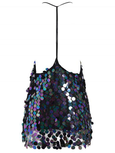 latest Sequins V Neck Y Back Slip Mini Dress - BLACK S Mobile