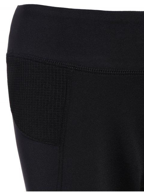 women's Mesh Insert Capri Leggings - BLACK M Mobile
