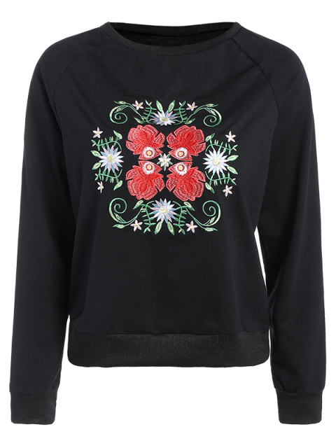 buy Floral Embroidered Tunic Sweatshirt - BLACK L Mobile