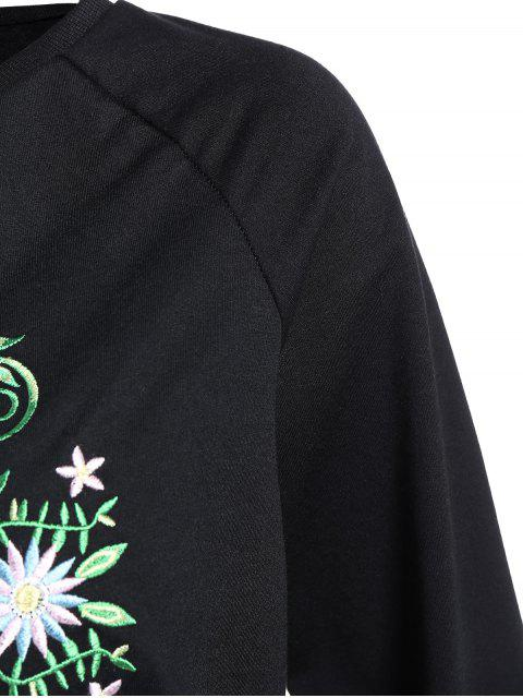 women Floral Embroidered Tunic Sweatshirt - BLACK S Mobile