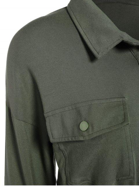 affordable Midi Shirt Military Dress With Pockets - ARMY GREEN M Mobile