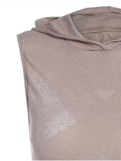 affordable Hooded Sleeveless Top - GRAY L Mobile