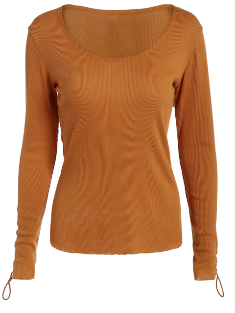 buy Lace Up Sleeve Scoop Neck Tee - BROWN M Mobile