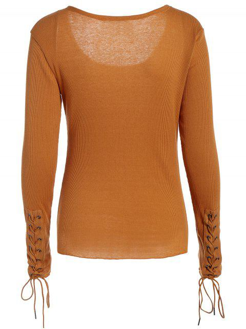 sale Lace Up Sleeve Scoop Neck Tee - BROWN XL Mobile