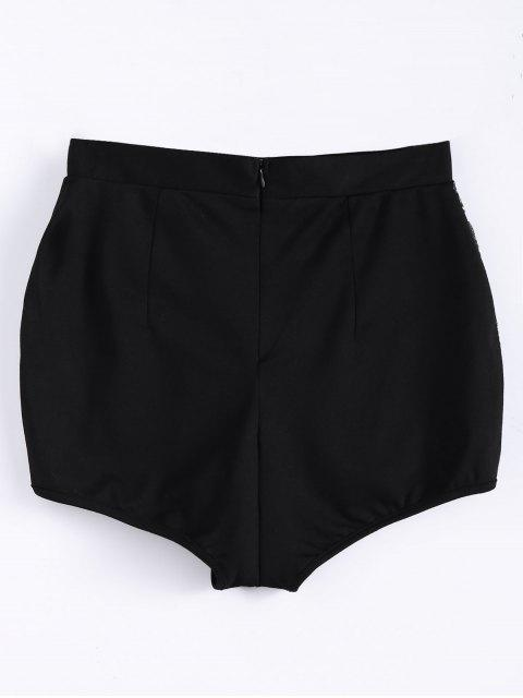hot High Waist Beading Shorts - BLACK XL Mobile