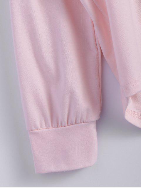 T-shirt long à col bas et imprimé de papillon - ROSE PÂLE M Mobile