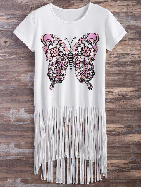 trendy Butterfly Print Fringe T-Shirt - WHITE XL Mobile