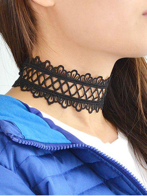 buy Hollowed Wide Lace Choker - BLACK  Mobile