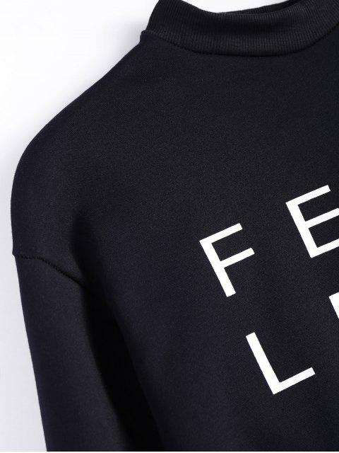 shops Mock Neck Oversized Letter Print Sweatshirt - BLACK 2XL Mobile