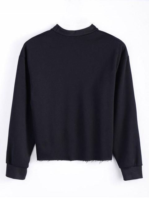 trendy Mock Neck Oversized Letter Print Sweatshirt - BLACK L Mobile