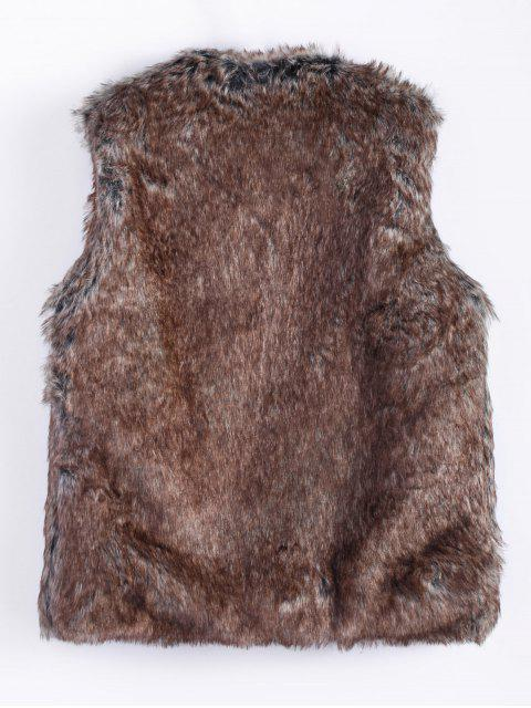 womens Faur Fur Winter Vest - BROWN L Mobile