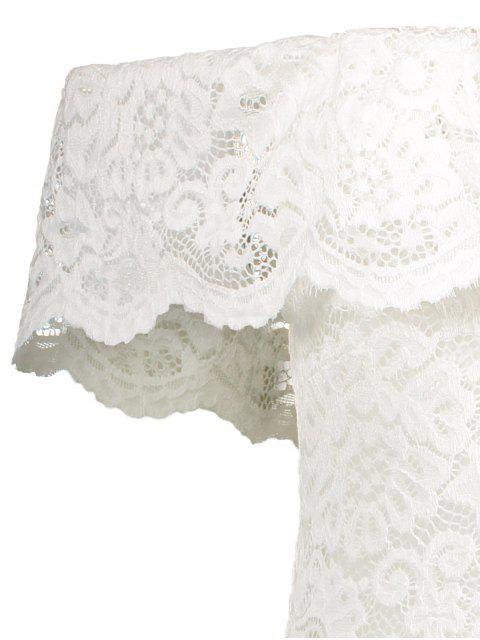 latest Off Shoulder Flounced Lace Bodysuit - WHITE L Mobile