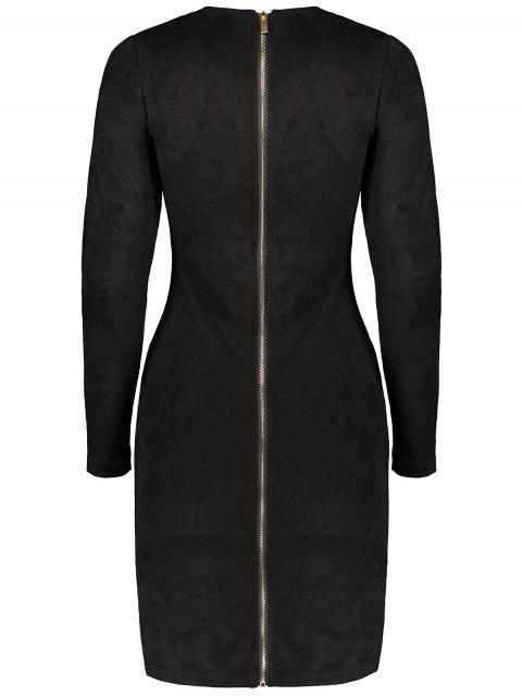 fancy Back Zip Faux Suede Bodycon Dress - BLACK M Mobile