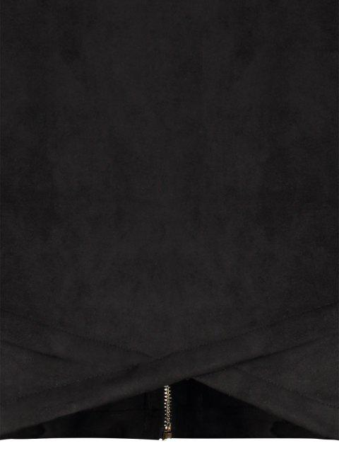 unique Back Zip Faux Suede Bodycon Dress - BLACK S Mobile