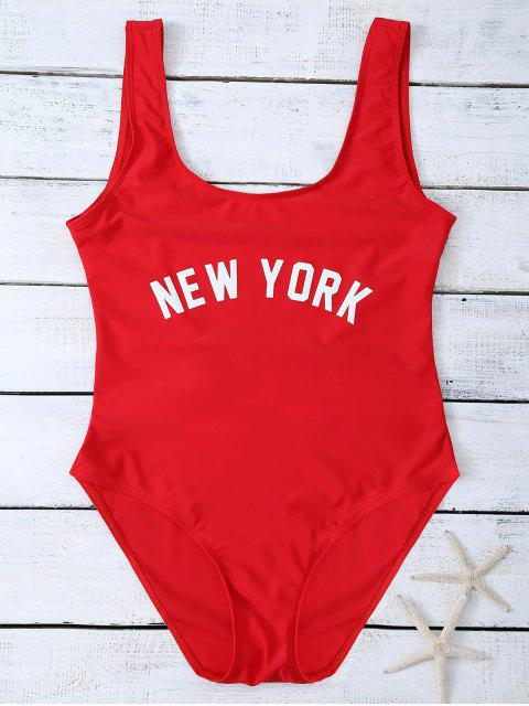 fancy Lettering U Neck High Cut Swimsuit - RED S Mobile