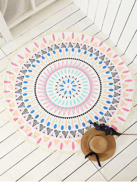 Echarpe de plage ronde et imprimée et décorée de franges - Multicolore TAILLE MOYENNE Mobile