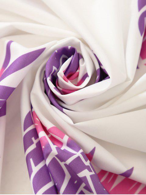Echarpe de plage ronde imprimée et décorée de franges - Blanc TAILLE MOYENNE Mobile