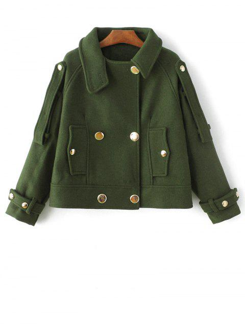 shops Cropped Wool Blend Bridge Coat - ARMY GREEN S Mobile