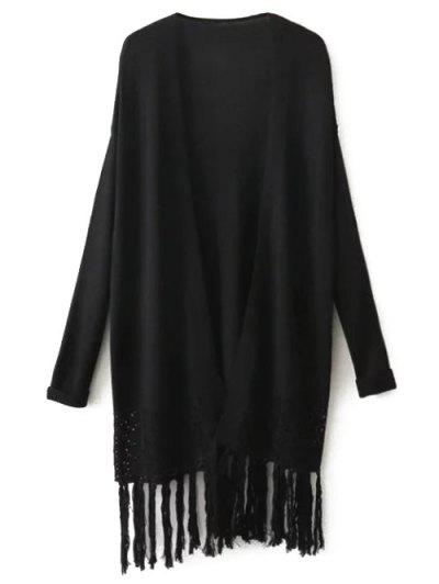 Knit Hollow Out Fringed Cardigan
