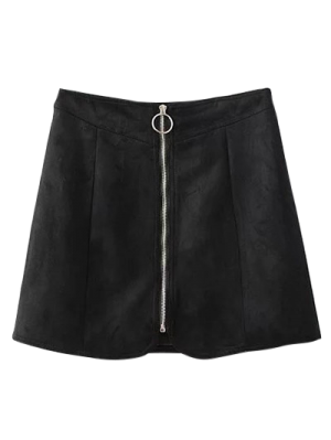 Suede Cremallera Mini Falda - Negro L