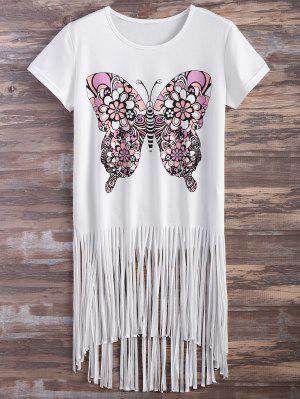 Impresión De La Mariposa De La Franja De La Camiseta - Blanco 2xl
