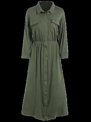 Camisa De Vestir Con Bolsillos Midi - Verde Del Ejército L