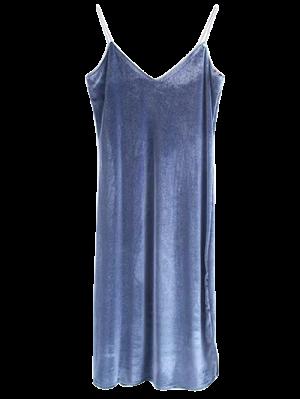 Robe En Velours à Longueur Moyen à Bretelle - Gris Bleuté S
