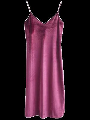 Robe En Velours à Longueur Moyen à Bretelle - Anko- Rouge S