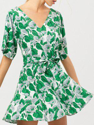 Leaves Print Belted A-Line Dress - Green - Green Xs