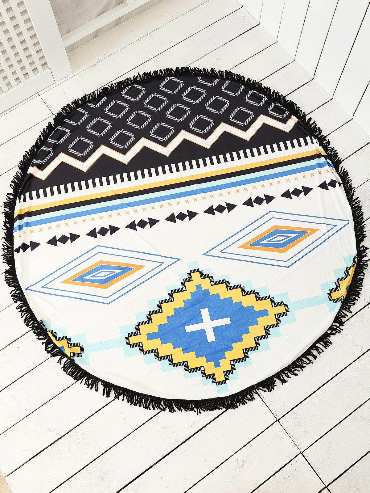 Echarpe de plage ronde et imprimée et décorée de franges