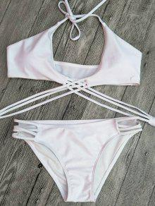 Strappy Cutout Lace-Up Bikini - Blanc L