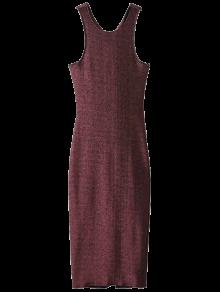 Twist Low Back Pencil Tank Dress - Wine Red M