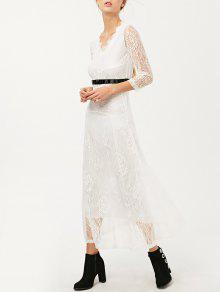 Robe Longue Avec Col V En Dentelle  - Blanc M