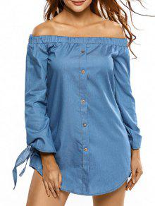 Breasted Simple Off The Shoulder Mini-robe - Bleu Clair M