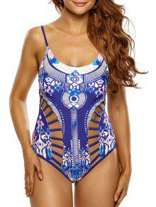 Ladder Cutout Aztec Print Swimsuit - Blue S