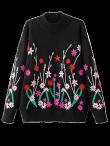 Floral Del Equipo Bordado Del Cuello Del Suéter Del Puente - Negro L